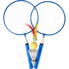 Badminton loparja in različnimi žogicami, modra 7867-23