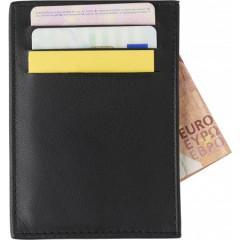 Mala usnjena denarnica z RFID in žepi za kartice, črna 8058-01