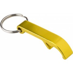 Kovinski obesek za ključe z odpiračem za steklenice, rumena 8517-06