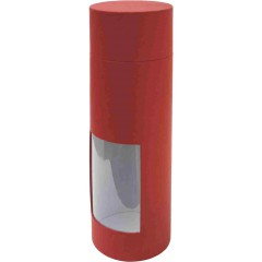 Škatla za vino z oknom Window - trdi karton, rdeča 85211R