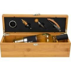 Lesena vinska škatla s  4-delnim priborom Cipro 85238