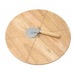 Set za pizzo: lesen pladenj in nož za pizzo 85311