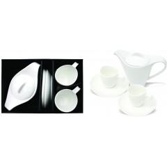 3 delni porcelanski set skodelic s čajni 85331, bela