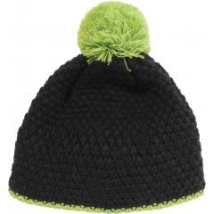 Pletena kapa Snow, črno-zelena 86154