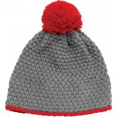 Pletena kapa Snow, sivo-rdeča 86297