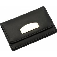 Etui oz. denarnica za vizitke iz bonded usnja, črna 8717-01