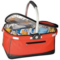 Košara za nakupovanje s pokrovom na zadrgo in hladilno izolacijo - ALU ročaj in ogrodje - Irland, rdeča 876305