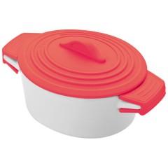 Mala keramična posodica s silikonskim pokrovom 9cm Delhi, rdeča 889405