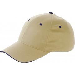 6-delna športna kapa s šiltom - čepica iz bombaža Sandwich, svetlo rjava 9120-13