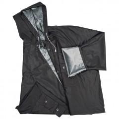 Dežni plašč s kapuco in žepi - obojestranski Nanterre, črna/siva 920537