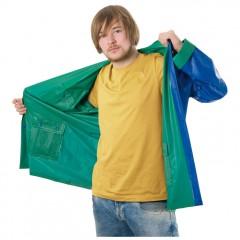 Dežni plašč s kapuco in žepi - obojestranski Nanterre, modra/zelena 920549