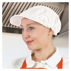Kuharska kapa s šiltom in elastiko - črna ali bela - Spinner, večbarvno GRVASPI